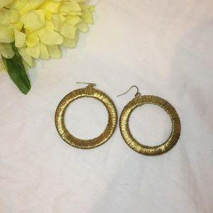 Vintage Gold colored wrap hoops earrings